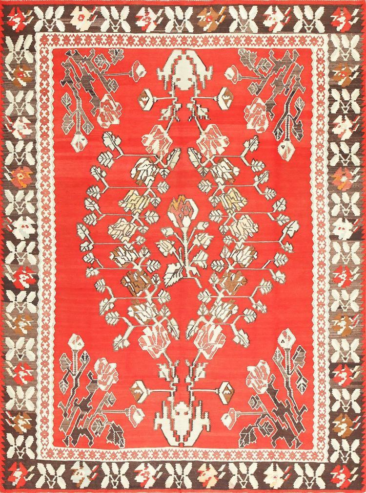 Vintage Floral Turkish Kilim Rug 50678