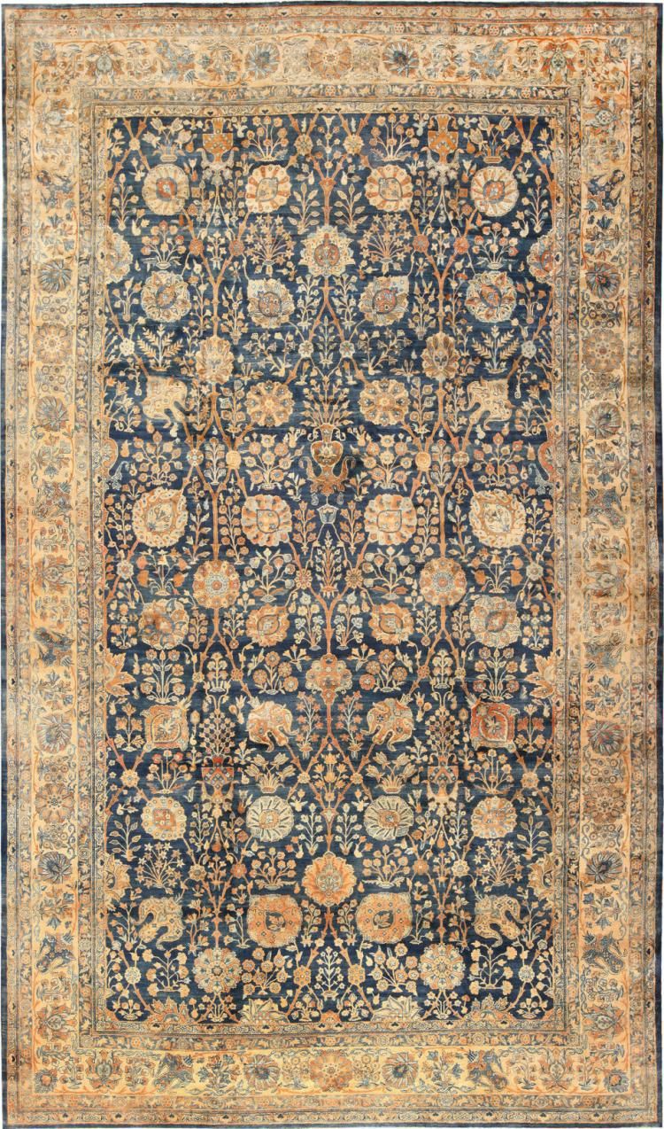 Blue vase design large antique persian kerman rug for Blue and white oriental rug