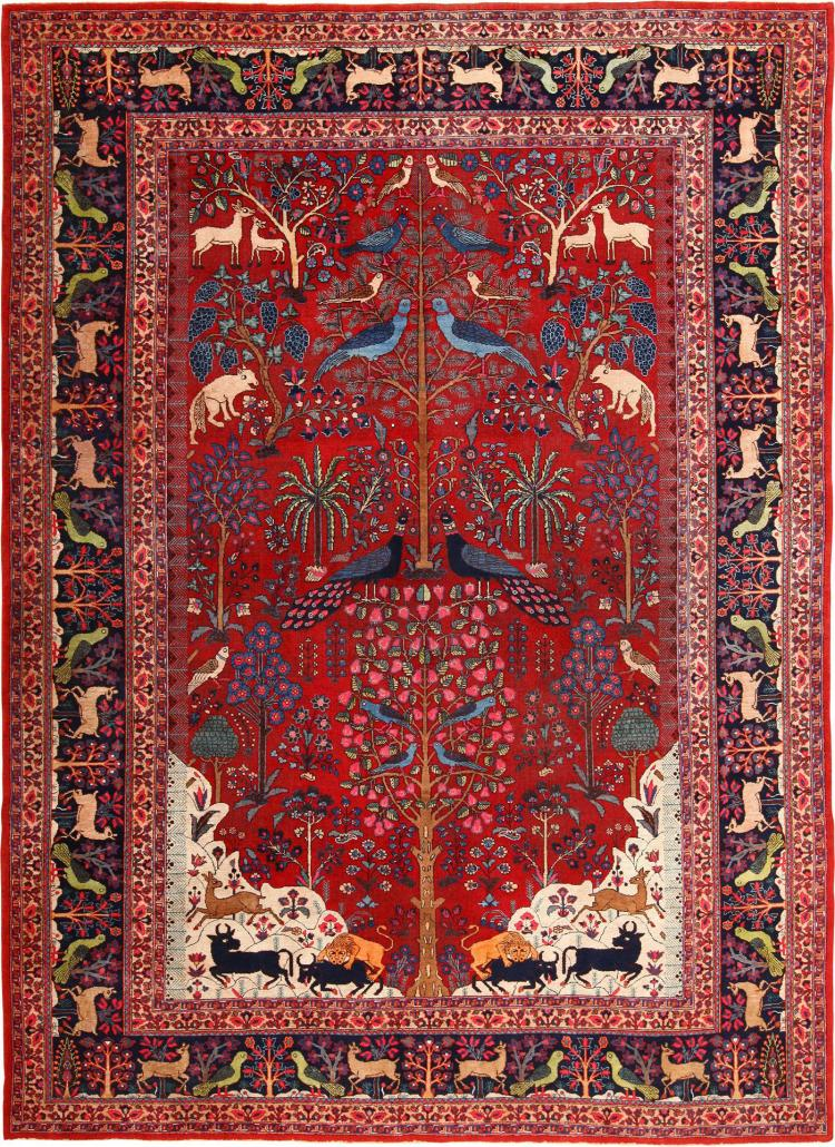 Tree Of Life Animal Garden Design Persian Khorassan Rug