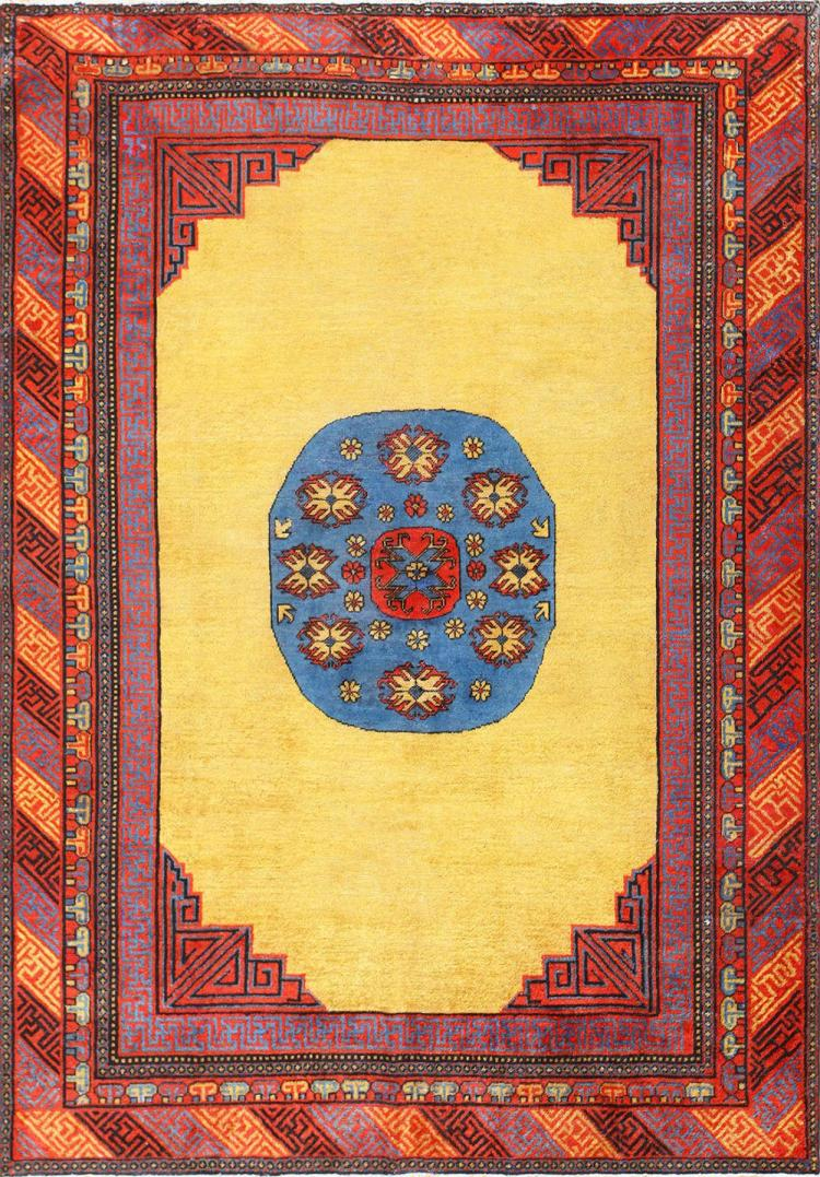 Small room size funky and tribal antique khotan rug for Small room rugs