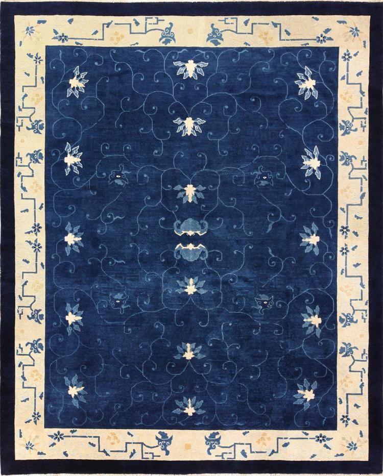 Antique Chinese Rug: Room Size Antique Blue Chinese Rug