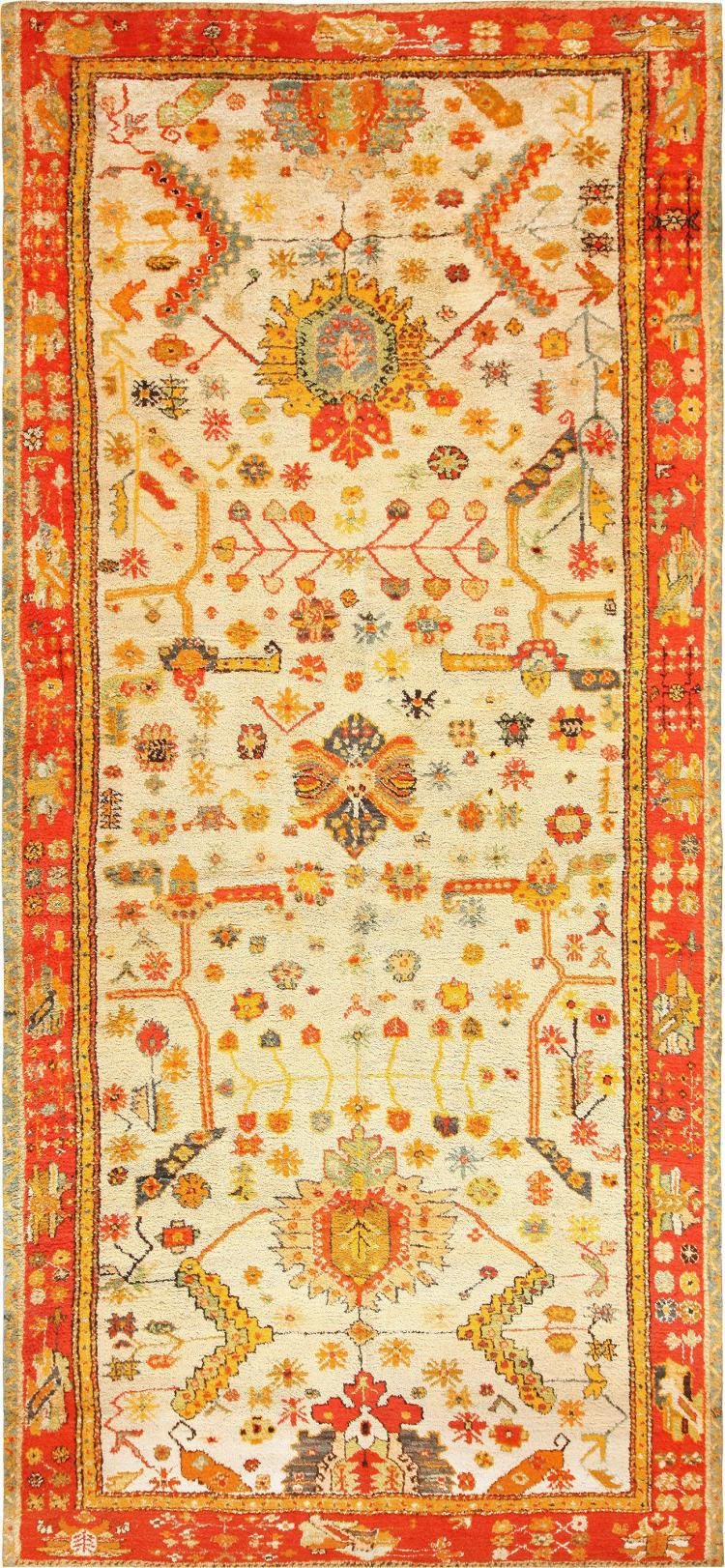 Antique turkish oushak rug with arts and crafts design for Arts and crafts style rug