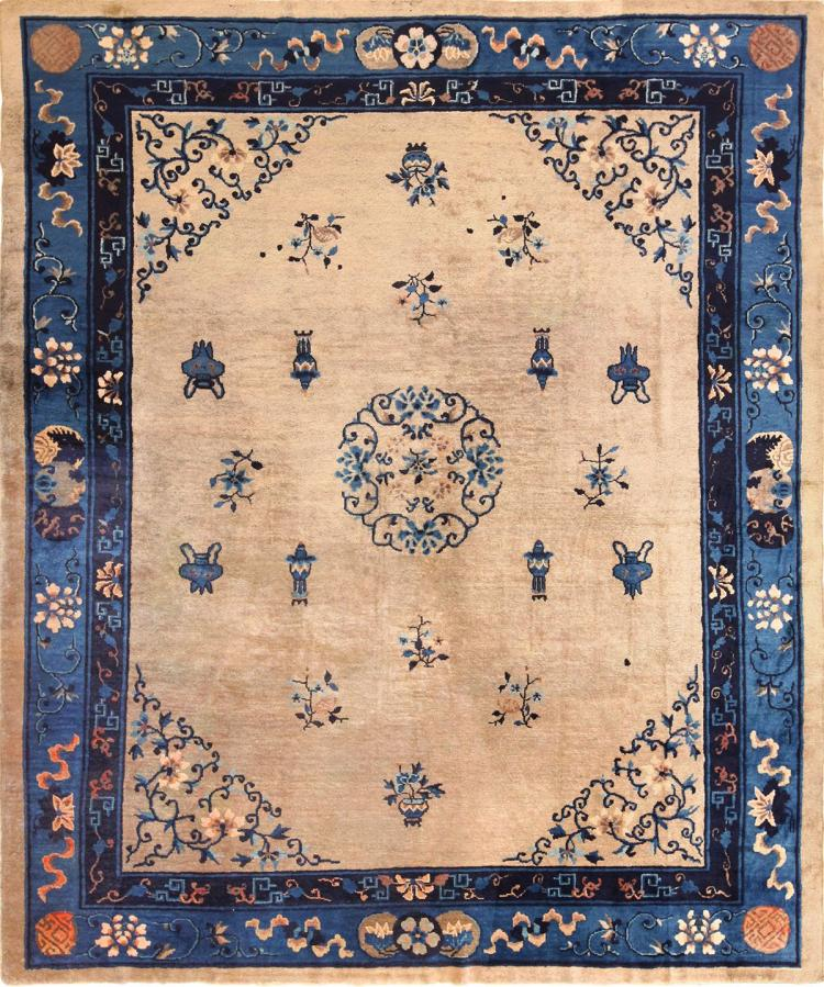 Antique Chinese Rug: Antique Taupe Background Chinese Rug