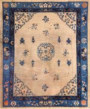 Antique Taupe Background Chinese Rug