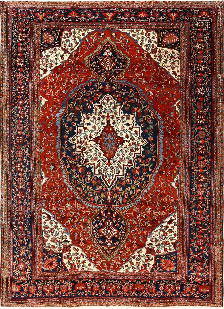 Antique Red Background Sarouk Farahan Persian Rug