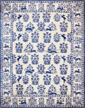 Vintage Animal Motif Indian Cotton Rug