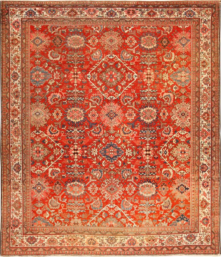 Antique Red Sultanabad Persian Rug
