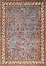 Large Light Blue Background Antique Indian Agra Rug