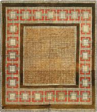 Square Size Mosaic Design Antique American Hooked Rug