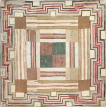 Colorful Square Size Antique American Hooked Rug