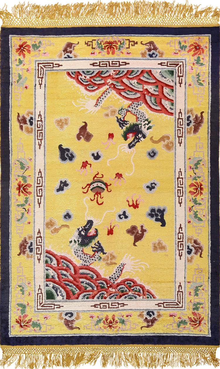Gold Small Size Dragon Design Antique Silk Chinese Rug