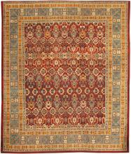Red Room Size Antique Indian Amritsar Rug