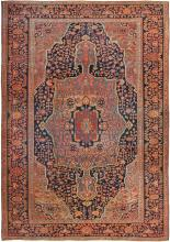 Antique Navy Background Farahan Sarouk Persian Rug