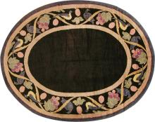 Vintage Art Deco French Oval Rug