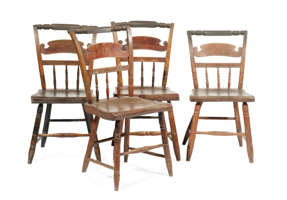 """Four American """"Hitchcock"""" Mixed Wood Side Chairs"""