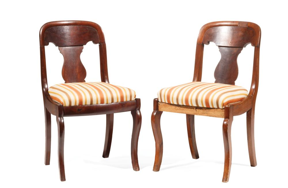 Pair of American Classical Mahogany Side Chairs