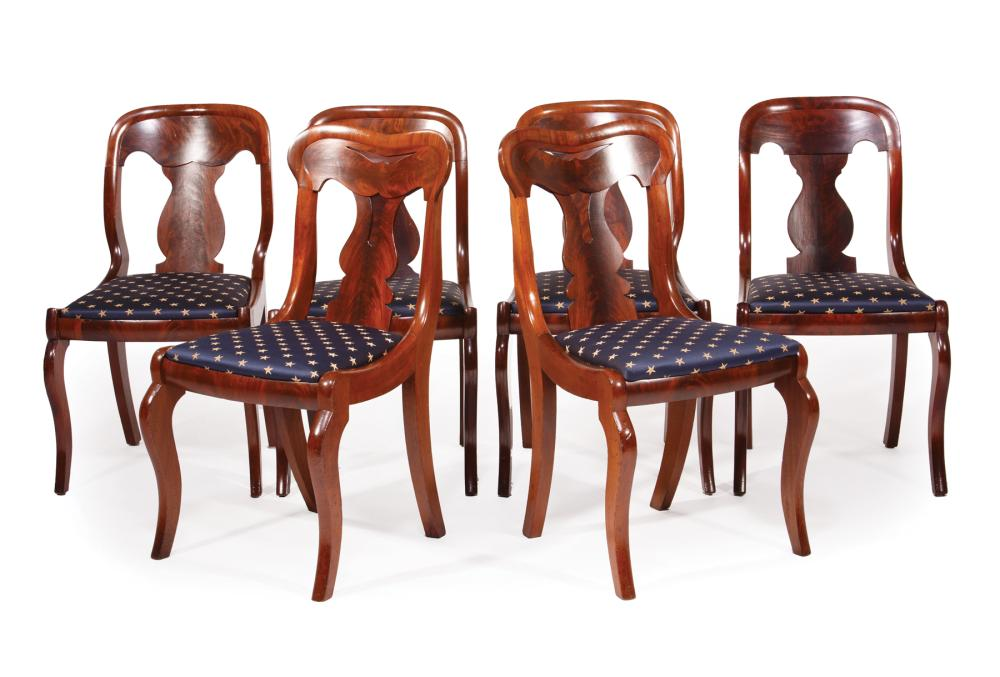 American Carved mahogany Dining Chairs, Assoc.