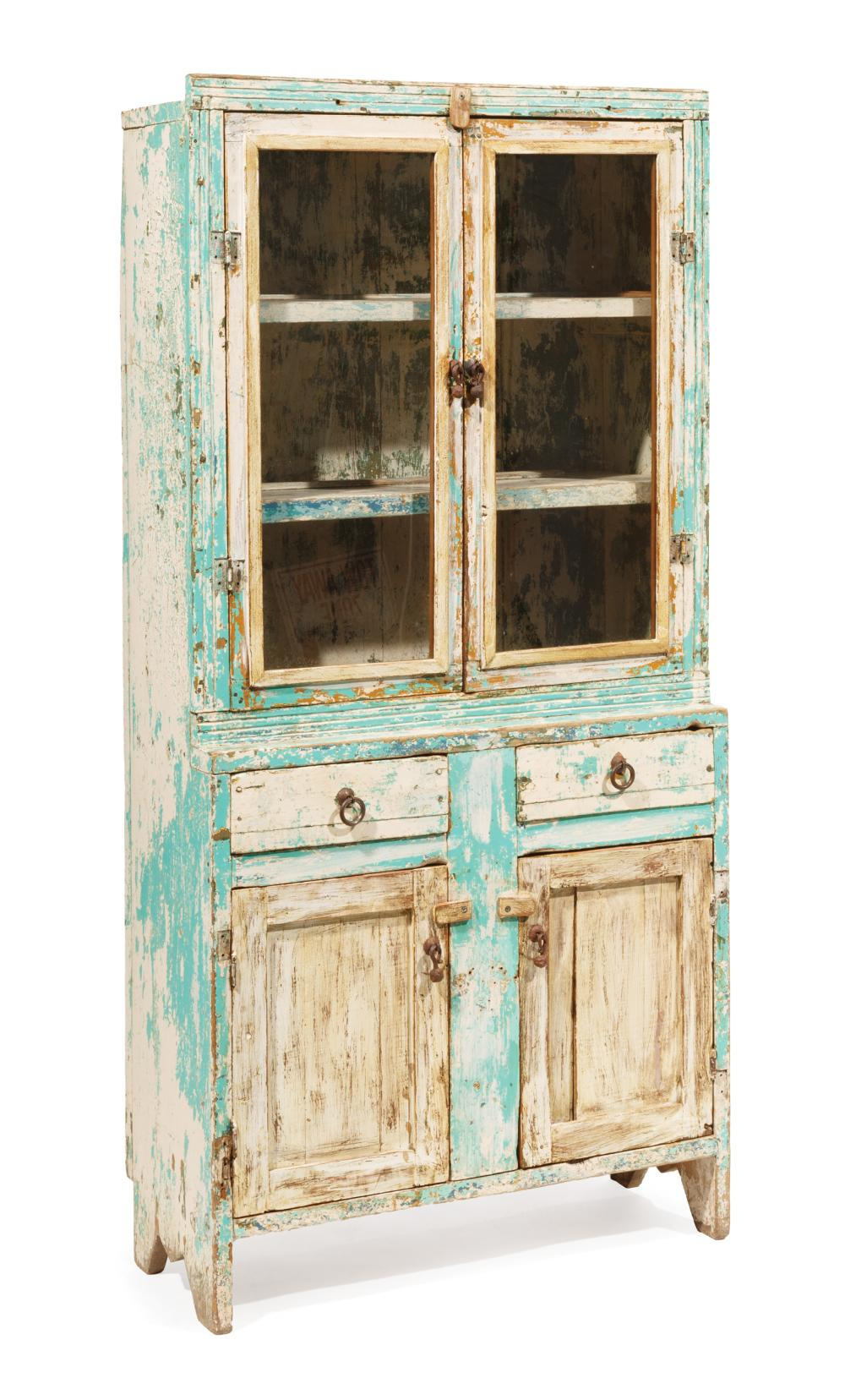 Diminutive American Country Painted Pie Safe