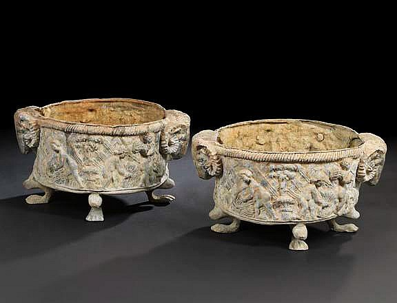 Good Pair of English Cast-Lead Circular Footed