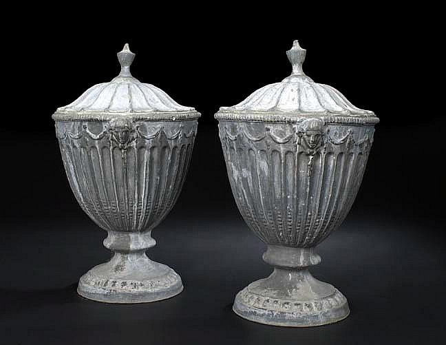Large Pair of Edwardian Cast-Lead Covered, Fluted