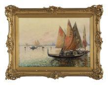 "Nicholas Briganti, (American/Italian, 1861-1944), ""Gondolas at Sunset, Venice"", oil on canvas , 14"" x 20"""