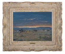 "Melvin Charles Warren (American/Texas, 1920-1995), ""Sunrise on the Texas Range"""