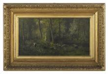 """Cesar de Cock (Flemish, 1823-1904) and Cornelis van Leemputten (Belgian, 1841-1902) , """"Verdant Forest with Figure and Sheep"""", 1878,..."""