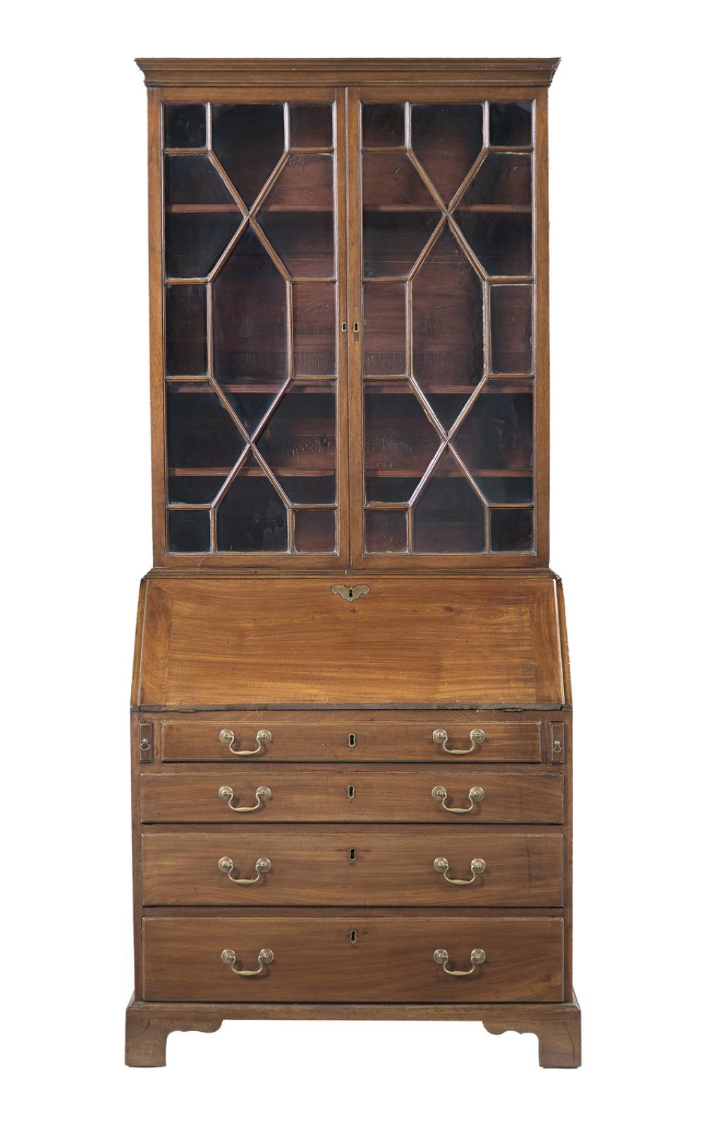 George III-Style Mahogany Secretary Bookcase