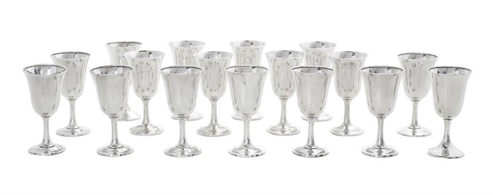 Seventeen Sterling Silver Water Goblets