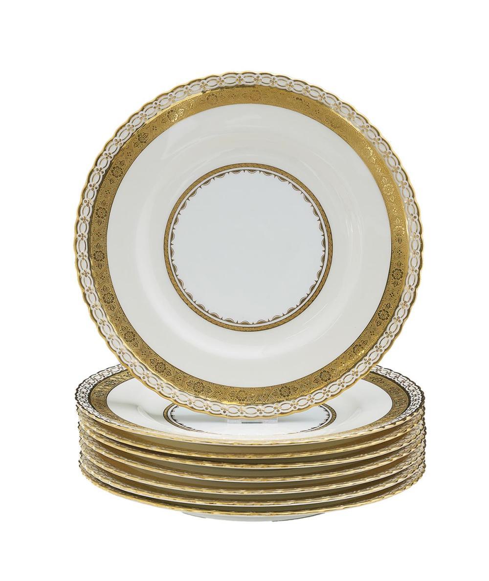 Set of Eight Mintons Porcelain Gilt-Embossed Dinner Plates