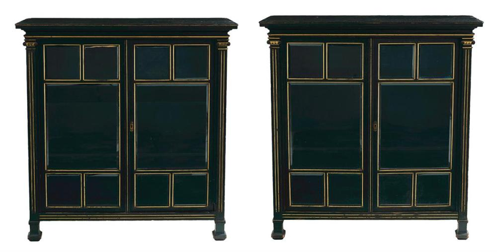 Pair of Herter Brothers Aesthetic Movement Parcel-Gilt and Ebonized Oak Bookcases