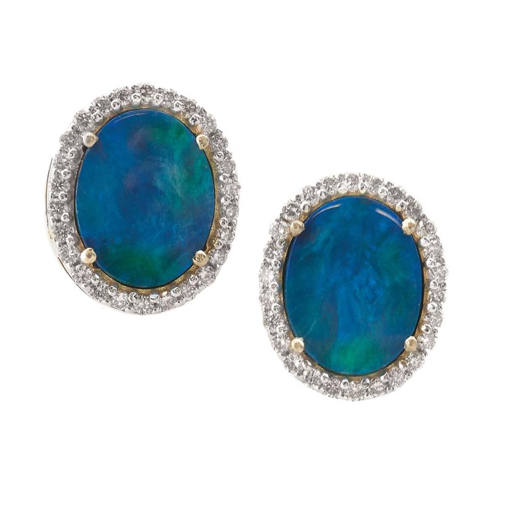 Pair of Black Opal and Diamond Earrings