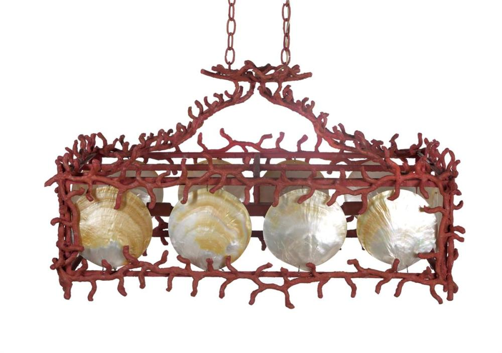 """Painted """"Coral"""" and Shell Chandelier"""