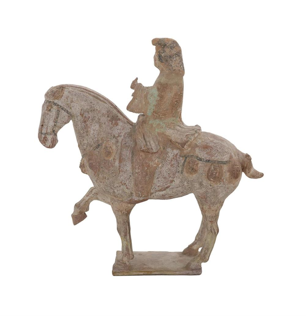 Tang Dynasty Polychrome Earthenware Caparisoned Horse with Rider
