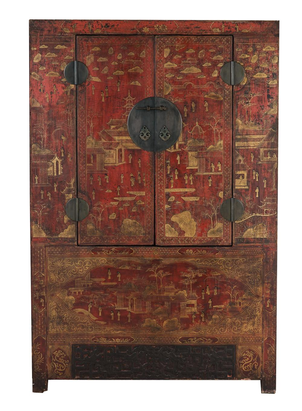 Chinese Red-Lacquered Cabinet