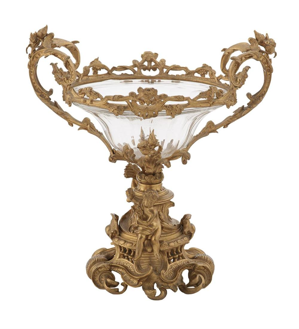 French Gilt-Bronze and Cut Crystal Centerpiece Bowl