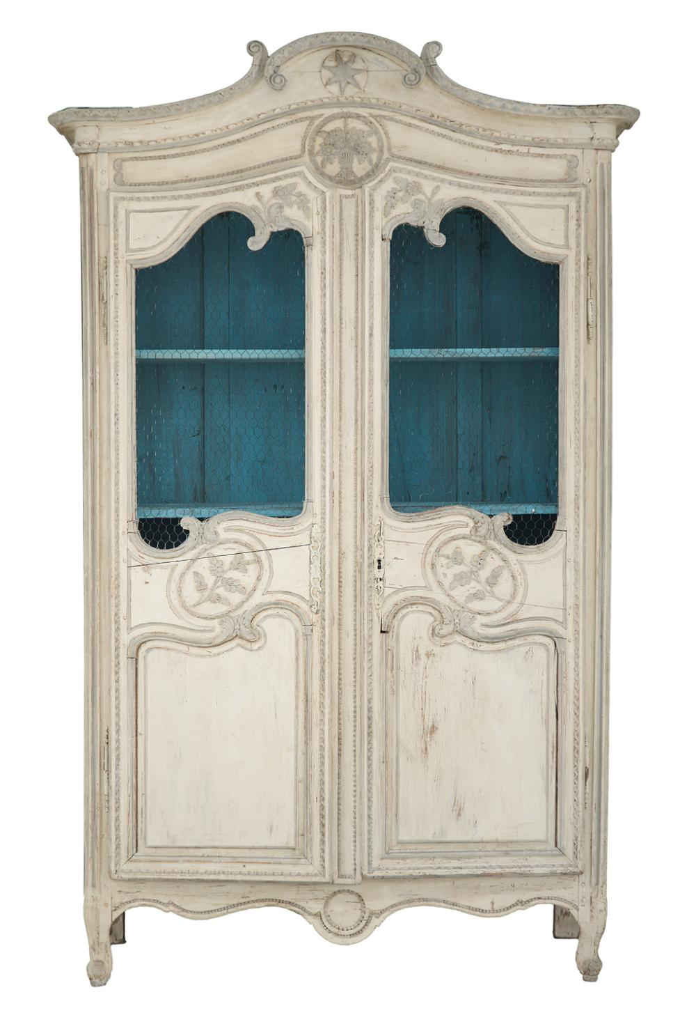 French Provincial Polychromed Armoire