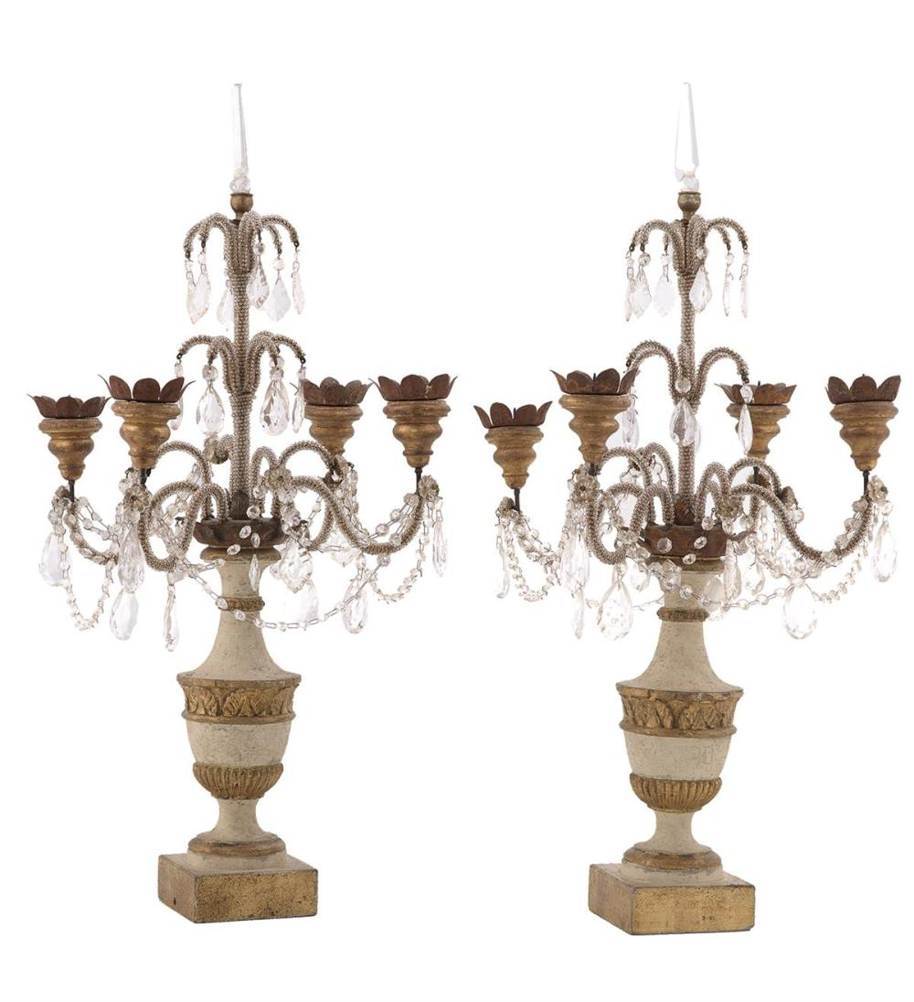 Pair of French Parcel-Giltwood, Glass and Gilt-Metal Candelabra