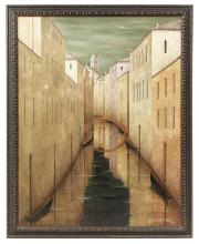 """Jean-Pierre Capron, (French, 1921-1997), """"Venice"""", 1974, oil on canvas, 57-1/2"""" x 45"""", framed 63"""" x 51"""""""