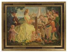 "Franz Paul Glass, (German, 1886-1964), ""Familienkonzert"", 1941, oil on canvas, 43-1/4"" x 59"", framed 53"" x 68-1/2"""