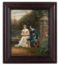 """Ludovic Mouchot (French, 1846-1893), """"The Persistent Suitor"""", oil on canvas, 18-3/8"""" x 15-1/4"""", framed 24-1/8"""" x 21"""""""