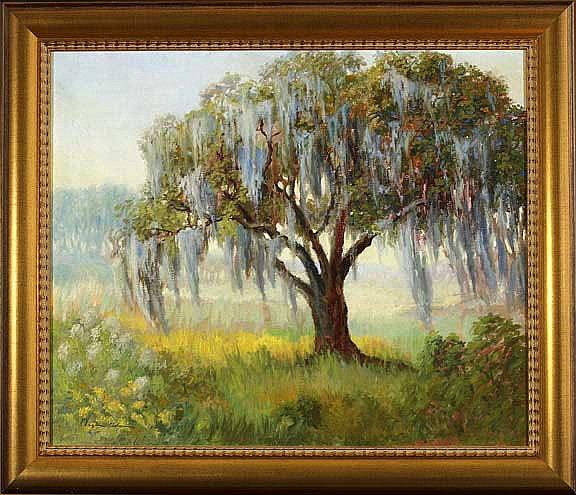 """Wayman Adams (American-Indiana, 1883-1959; Active New Orleans, 1920's-1950's) """"Louisiana Live Oak Draped with Spanish Moss"""", oil on canvas, 20"""" x 24"""", signed lower left """"Wayman Adams"""", bears certificate of authenticity label en verso """"This is to"""