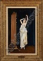 """Auguste Toulmouche (French, 1829-1890) """"Vanity"""", 1889, oil on canvas, 35-1-4"""" x 22"""", signed and dated lower left """"A. Toulmouche 1889"""". Presented in a contemporary giltwood frame. Provenance: Private collection, French Quarter, New Orleans, Louisiana."""