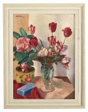 """Charles Kvapil (Belgian, 1884-1957), """"Still Life with Tulips, Vase and Box"""""""