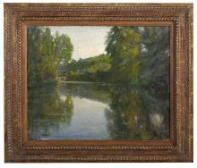 """Louis Hayet (French, 1864-1940), """"Le Petit Pont Traversant la Riviere"""""""