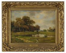 """Nicholas Briganti, (American/Italian, 1861-1944), """"Summer Meadows"""", oil on canvas, 12"""" x 16-1/8"""", framed 17-1/2"""" x 21-1/2"""""""