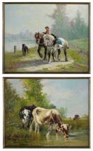 "Edmond de Pratere (Belgian, 1826-1888), ""Cattle Watering"" and ""Boy with Ponies"""