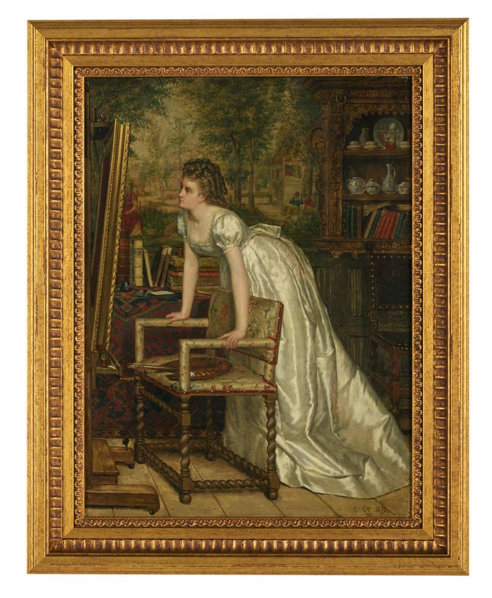 """Constant Aime-Marie Cap (Belgian, 1842-1915), """"Jeune Femme Contemplant"""""""
