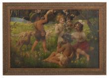 """Friedrich Schlegel (German, 1865-1935), """"Merry-Making Children"""""""