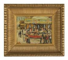 "Bart Schouten Leroy, (Dutch/French, 1941-2001), ""The Carousel"", oil on wood panel, 7-3/4"" x 10"", framed 13-3/4"" x 15-7/8"""